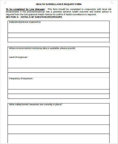 health surveillance enquiry form