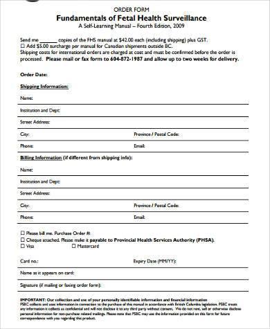 health surveillance order form