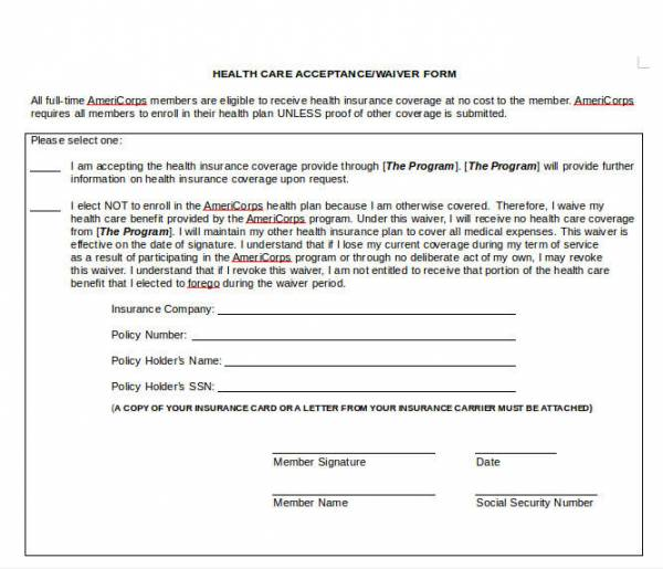 health waiver form in word format