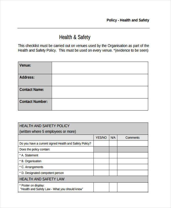 Sample policy review forms 8 free documents in word pdf for Health and safety review template
