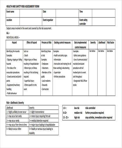 health and safety risk assessment form