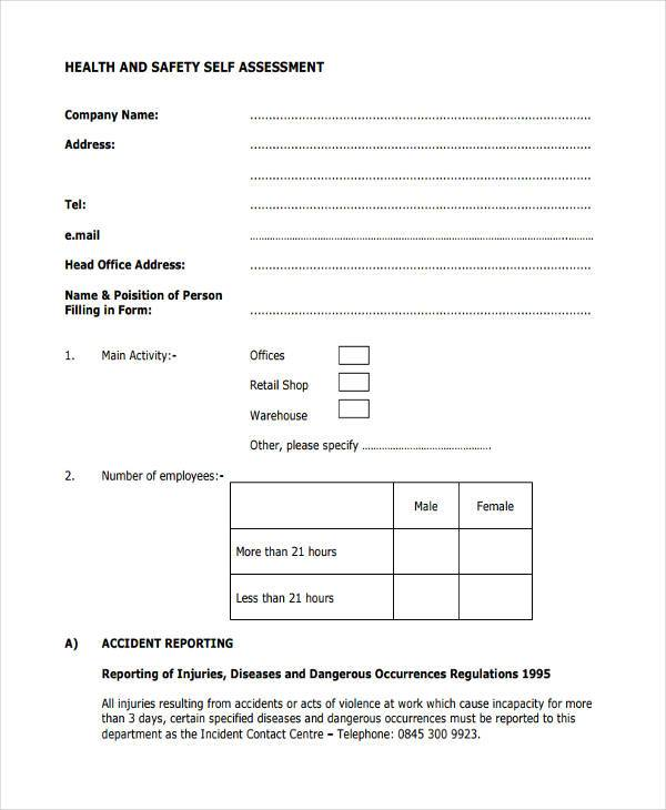health and safety self assessment form