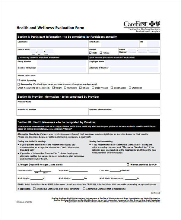 health and wellness evaluation form
