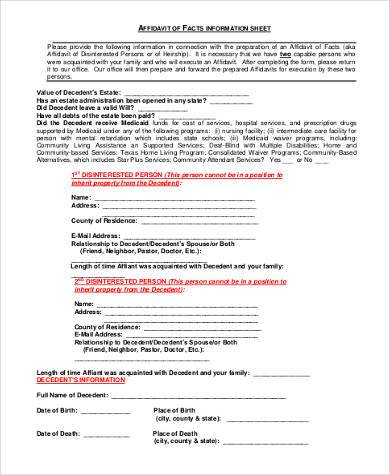 heirship affidavit information form
