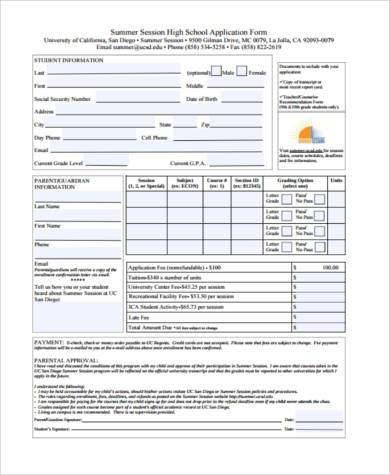 high school application form sample1