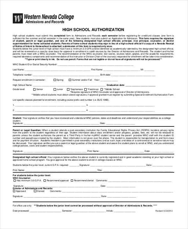 high school authorization form