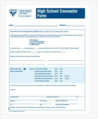 high school counseling form