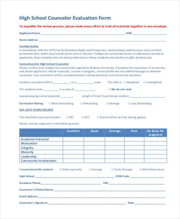 high school evaluation form