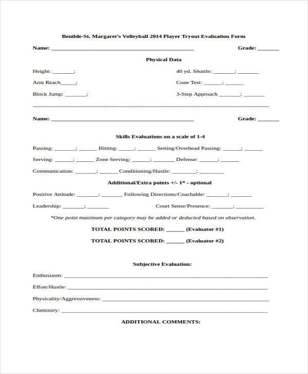 high school volleyball evaluation form