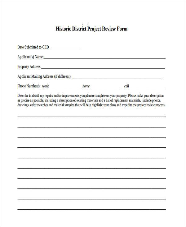 historic district project review form