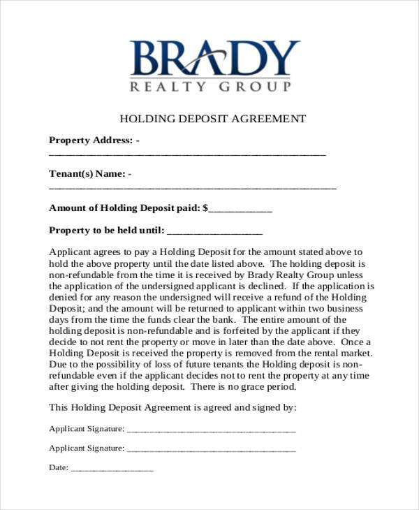 holding deposit agreement form example