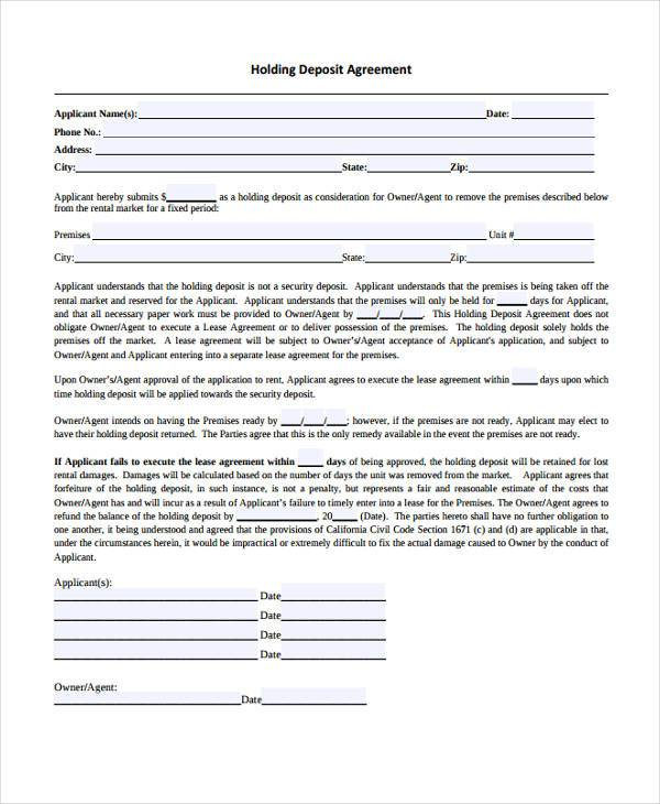 holding deposit agreement form free example