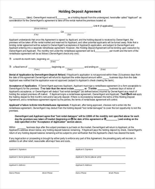 Sample Holding Deposit Agreement Forms - 8+ Free Documents in Word ...