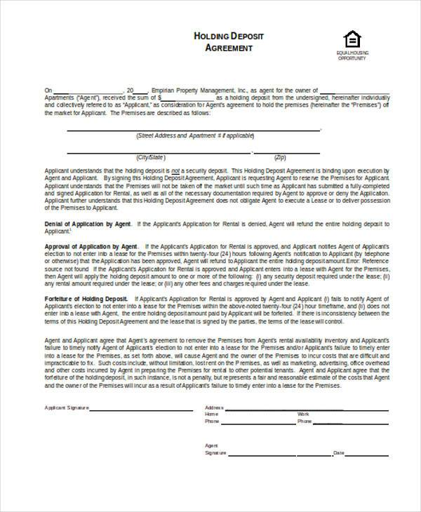 holding deposit agreement form in word format