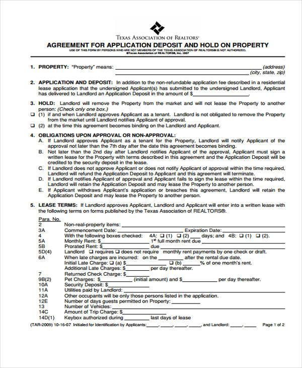 holding deposit property agreement form