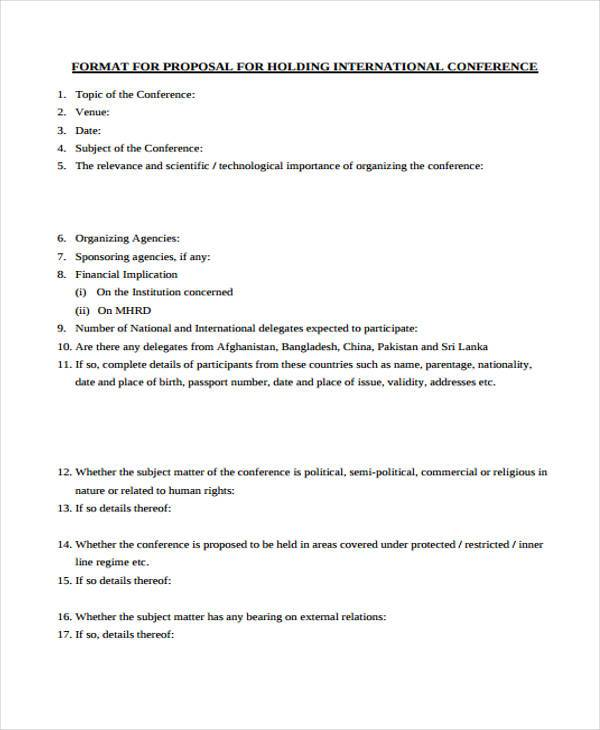 holding international conference proposal form
