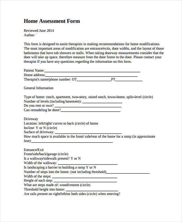 Home Evaluation Form Samples  Free Sample Example Format Download