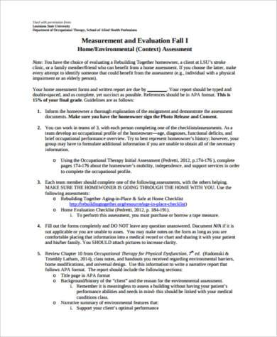 home environmental assessment form