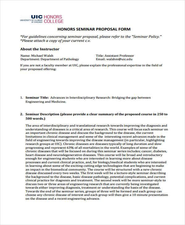 honors seminar proposal form