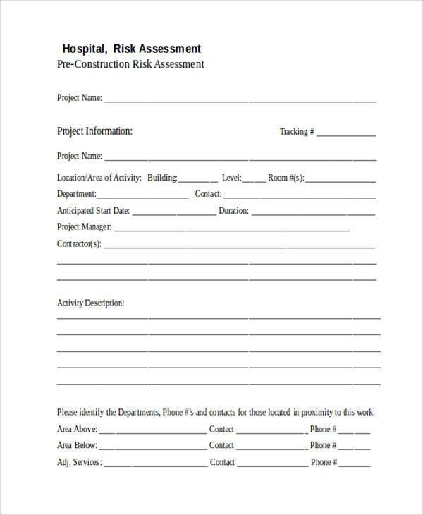 hospital construction risk assessment form1