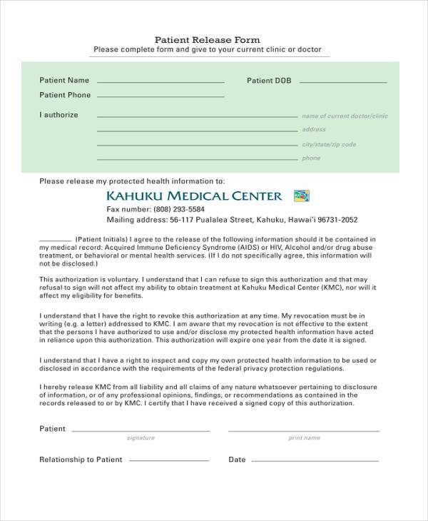 9+ Hospital Release Form Samples - Free Sample, Example Format ...