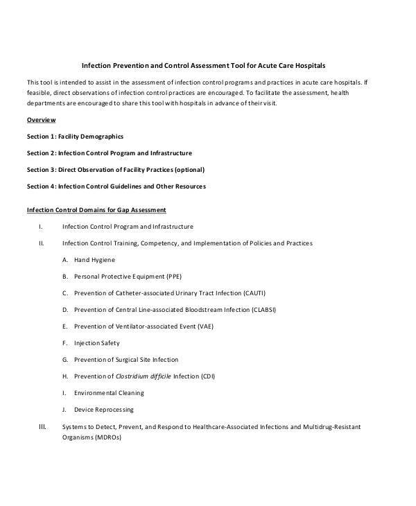 hospital infection control assessment form