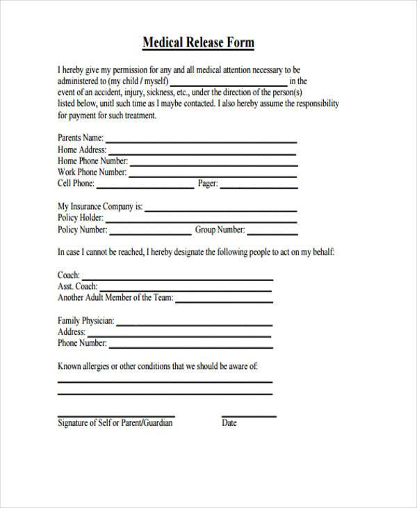 Insurance Release Form Simple Medical Release Form Sample Templates