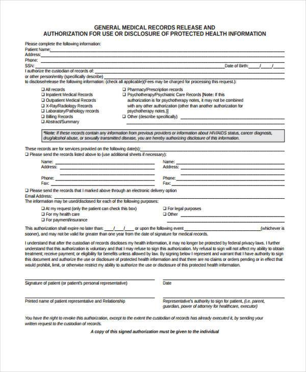 Hospital Release Form Samples  Free Sample Example Format Download