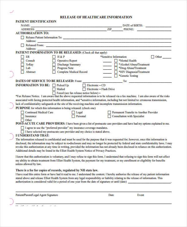 9 Hospital Release Form Samples Free Sample Example Format – Work Release Form