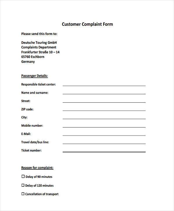 hotel customer complaint form in pdf