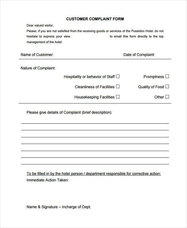 hotel customer complaint form
