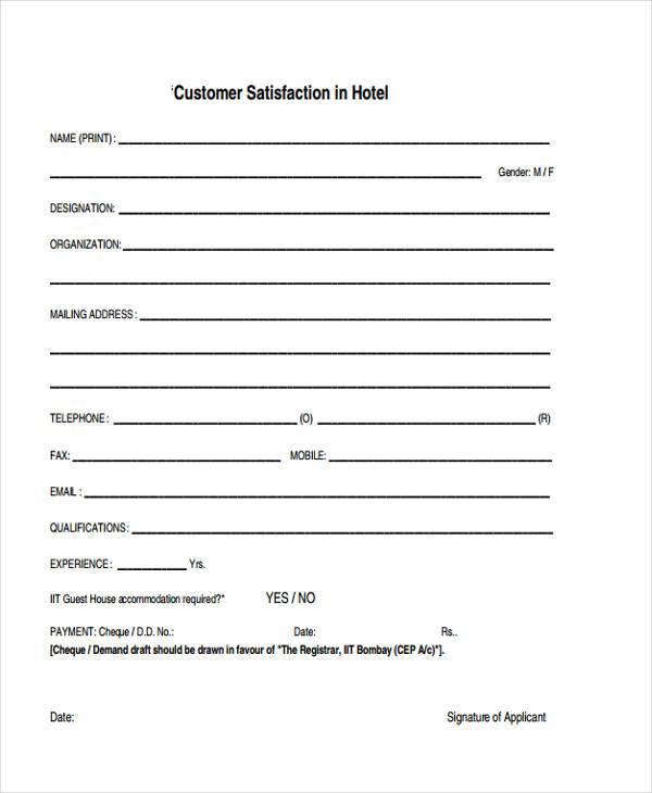 hotel customer evaluation form