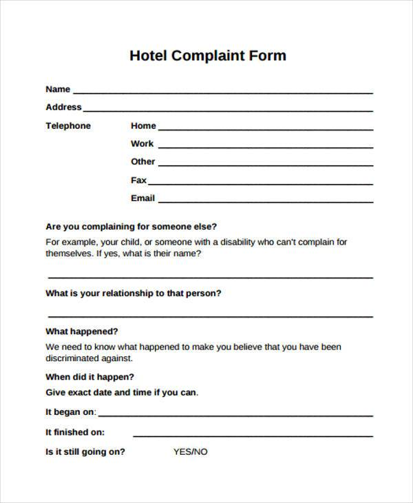 hotel guest complaint form sample