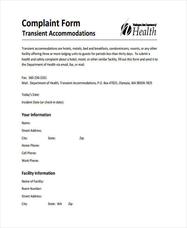 Sample hotel complaint forms 7 free documents in word pdf hotel guest complaint form altavistaventures Gallery