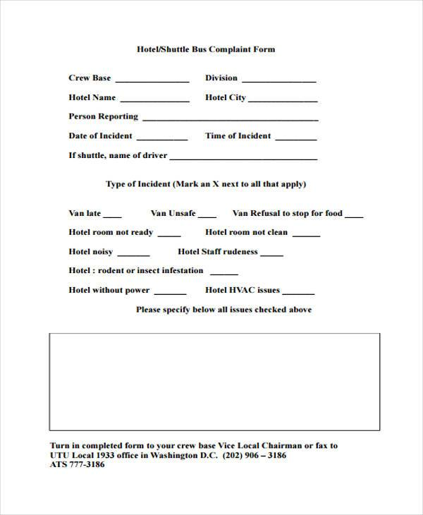 7 hotel complaint form samples free sample example format download hotel manager complaint form altavistaventures Gallery