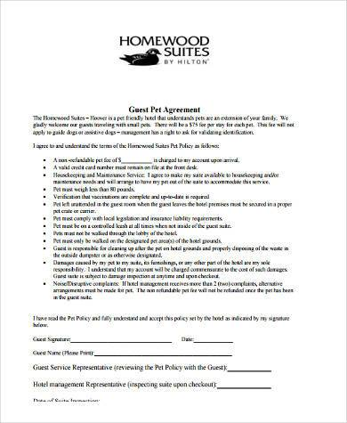 hotel pet agreement form