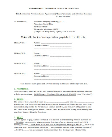 house agreement form sample
