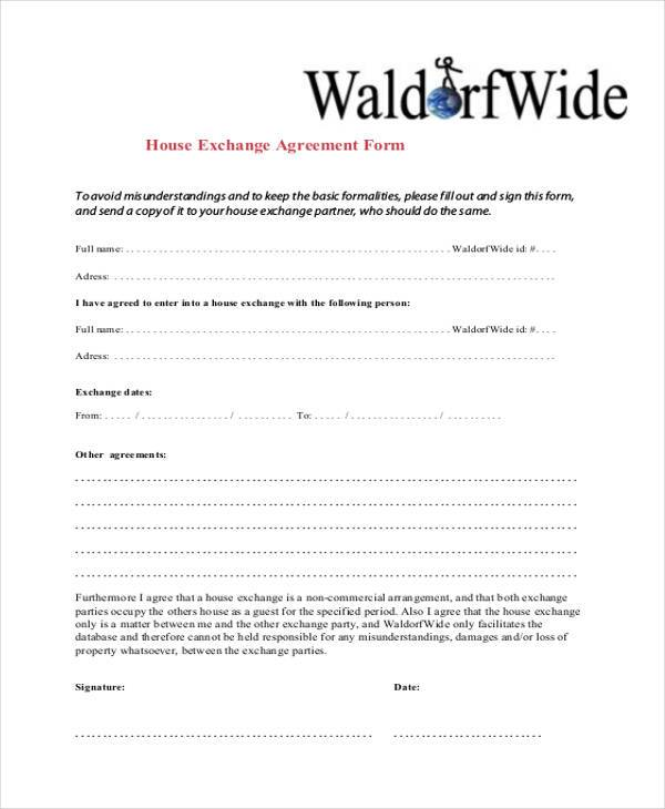 Sample Exchange Agreement Forms   Free Documents In Word Pdf