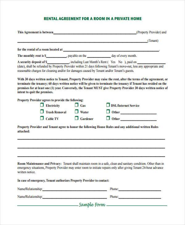 Room For Rent Contract Free Room Rental Agreement Template Pdf