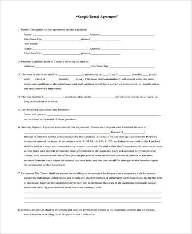 house rental agreement form sample