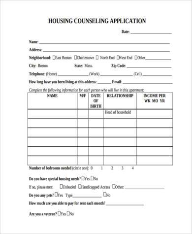 housing counseling application form