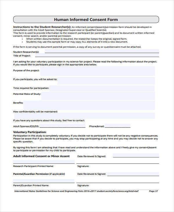 Free Consent Form Samples