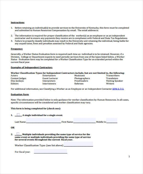 7+ Contractor Evaluation Form Samples - Free Sample, Example ...