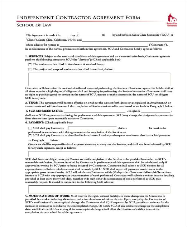independent exclusive contractor agreement form