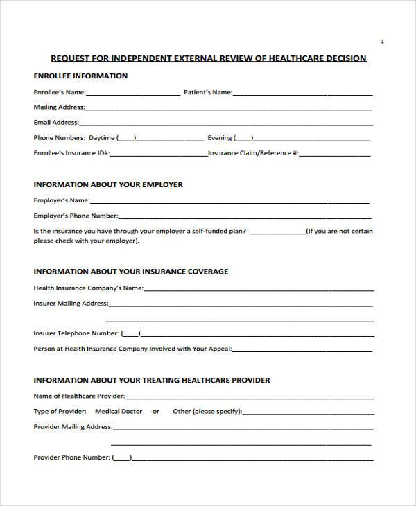 independent external review form example