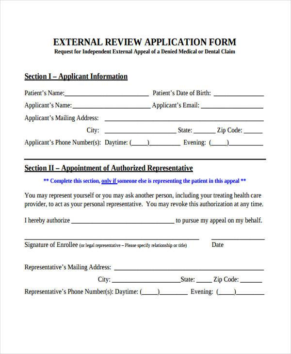 independent external review form