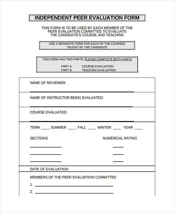 Peer Evaluation Form  Peer And Self Assessment Templates