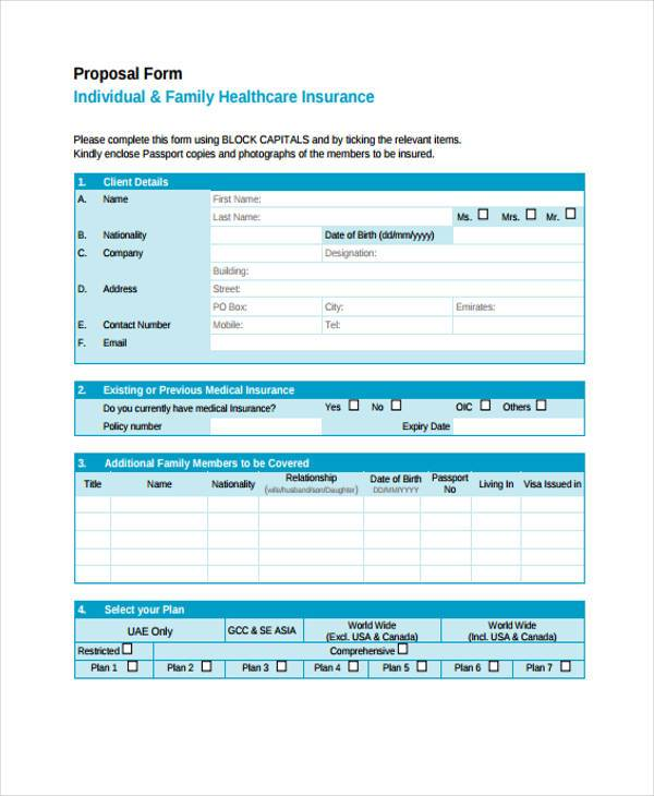 individual health proposal form