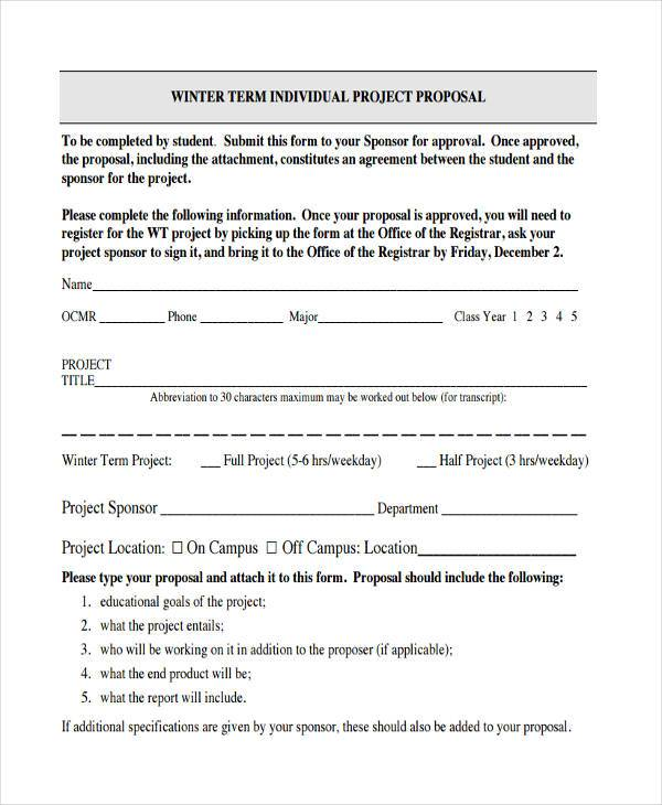 individual project proposal form