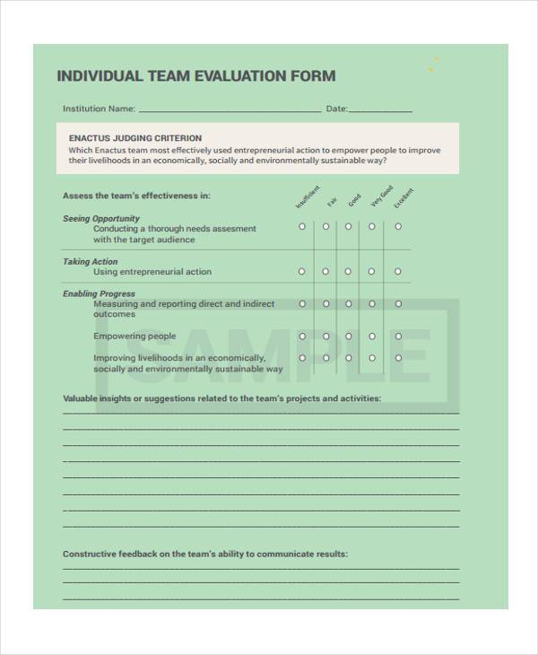 individual team evaluation form